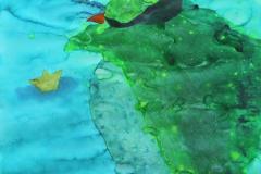 刘丽芬Liu Lifen 海神 God of Ocean 纸本丙烯水彩 Acrylic ink and Watercolor on paper 150x90cm 2012